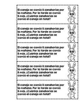 Story Problems in Spanish (Problemas de cuento- Tiras para Matematicas)