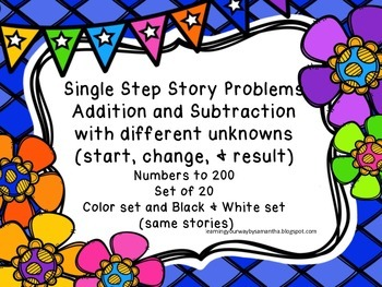 Story Problems with Different Unknowns up to 200 (Addition & Subtraction)