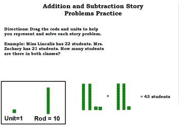 Addition and Subtraction Story Problems - Rods and Units F