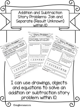 Story Problems within 10 Using Multiple Representations