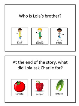 """Story Questions for """"I Will Never Not Ever Eat a Tomato"""""""
