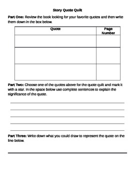 Story Quote Quilt Worksheet