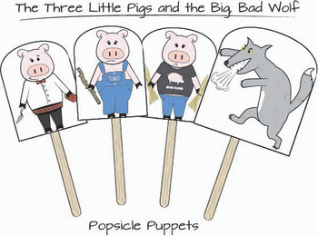 Story re telling the three little pigs by mitchell for The three little pigs puppet templates