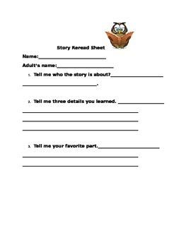 Story Rereading Sheet