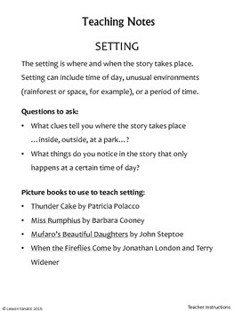 Story Response Booklets:  Character, Theme, Plot, Setting
