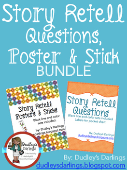 Story Retell Bundle Questions, Poster, Sticks