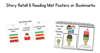 Story Retell & Reading Mat Posters or Bookmarks for Primary Grades