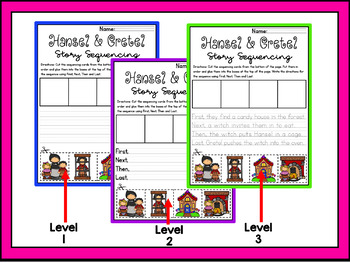 Story Retell & Sequencing Worksheets Hansel & Gretel Differentiated