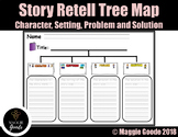 Story Retell Tree Map- Characters, Setting, Problem & Solu
