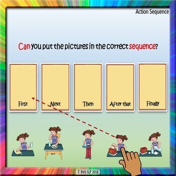 BOOM CARDS Distance Learning Sequencing | Story Retell Evergreen 1 - Teletherapy
