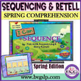 BOOM CARDS Sequencing and Story Retell Teletherapy Spring Edition
