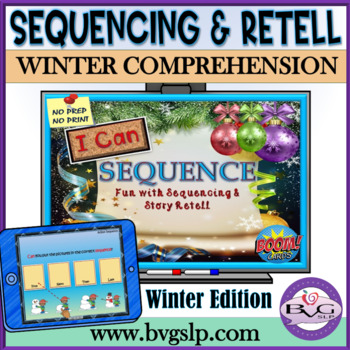 BOOM CARDS Sequencing and Story Retell Winter Edition - Teletherapy