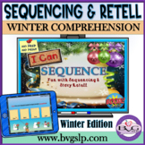 BOOM CARDS Sequencing and Story Retell Teletherapy Winter Edition