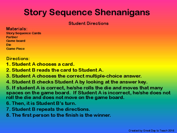 Story Sequence Shenanigans Grades 3-4
