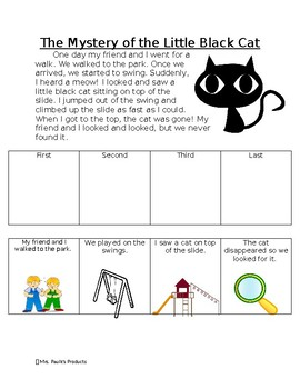 Story Sequencing Activity- The Mystery of the Little Black Cat