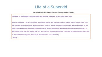 """Story Sequencing """"Life of a Super Kid"""""""