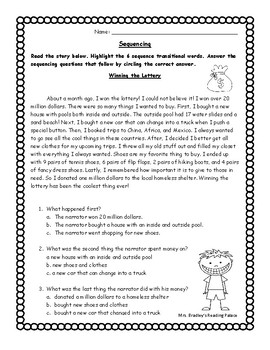 Story Sequencing Worksheet Test Prep Practice or Homework