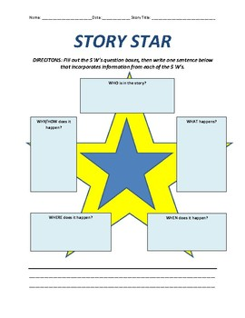 Story Star - 5W's reading and writing graphic organizers