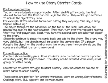 Story Starter Cards: Back To School Edition