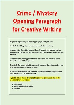 Story Starter / Opening Paragraph / Trial Version