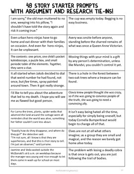 Story Starter Prompts© with Research and Argument Tie-Ins