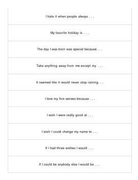 Story Starter Strips - set of  50