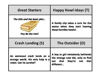 Story Starters - 68 card set with titles and plot summaries to write about