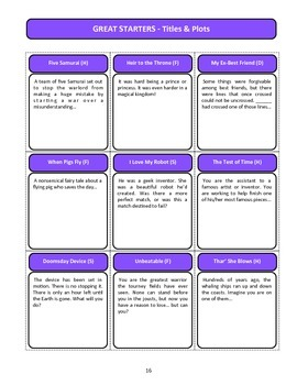Story Starters Book - 10 sets of creative writing cards over 1200 cards