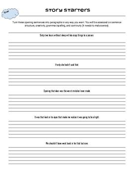 Story Starters- Grade 3, 4, 5, 6, 7, 8, 9 +