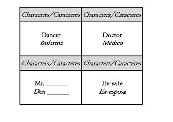 Story Starters - drama writing bilingual english spanish 134 flash cards set