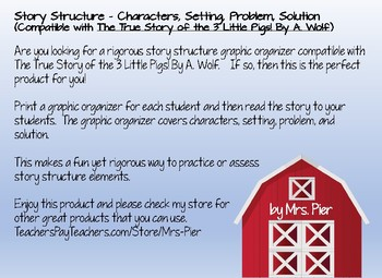 Story Structure (Compatible with The True Story of the 3 Little Pigs By A. Wolf)