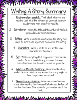 Story Summary- 7 Steps to Write the Perfect Fiction Summary