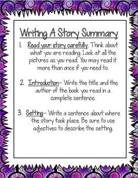 Story Summary Freebie! The first 3 steps to write a perfect story summary!
