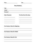 Story Summary Response Sheet for Fiction