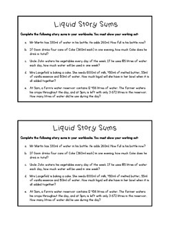 Story Sums (Liquids)