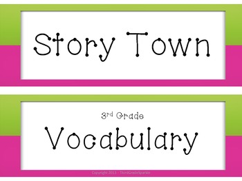 Story Town 3rd Grade Vocabulary Cards