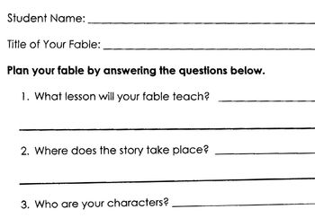 Story-Writing FABLE FRAME - 2 Page Outline Guide for Writing Fable/Story