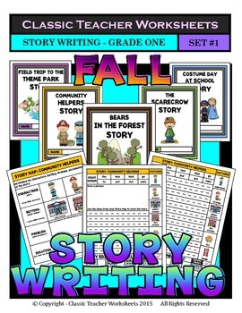 Story Writing-Fall-Grade 1 (1st Grade)-Story Maps and Story Writing Templates