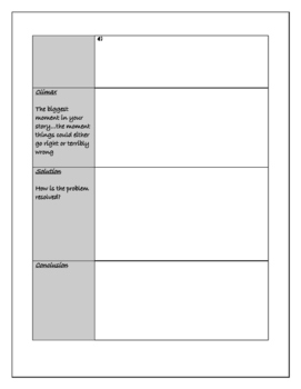 Story Writing Planning Page