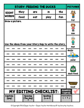 Story Writing-Spring-Grade 1 (1st Grade)-Story Maps and Story Writing Templates
