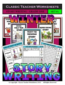 Story Writing-Winter-Grade 1 (1st Grade)-Story Maps and Story Writing Templates
