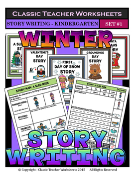 Story Writing - Winter - Kindergarten - Story Maps and Story Writing Templates by Classic Teacher Worksheets