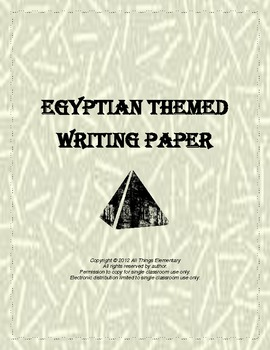 Story and handwriting paper Egyptian themed