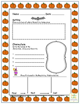Story elements Worksheet for Halloween Fall Theme