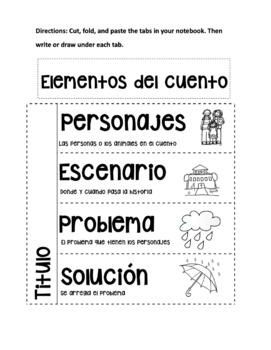 Story elements foldable Spanish and English