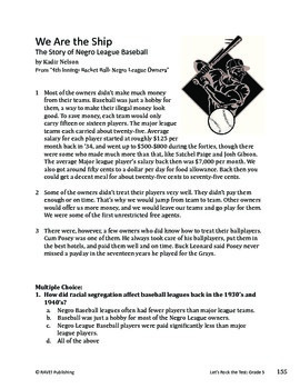Story of Negro League Baseball - Informational Text Test Prep