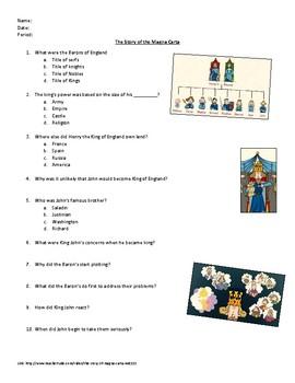 Story of the Magna Carta Youtube/Teachertube worksheet.