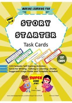Story or Sentence Starter Writing Task Cards-120pc