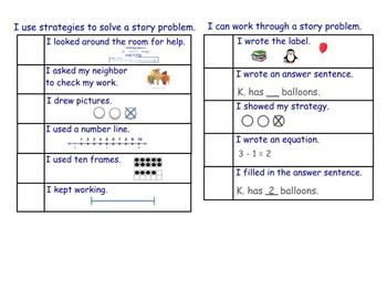 Story problem rubric and strategies