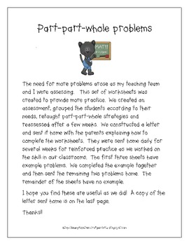 Story problems using a part-part-whole board